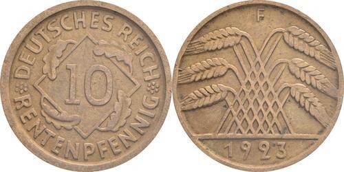 Lieferumfang:Deutschland : 10 Rentenpfennig Kursmünze  1923 ss/vz.