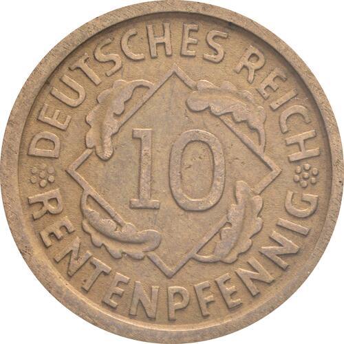 Vorderseite:Deutschland : 10 Rentenpfennig Kursmünze  1923 ss/vz.