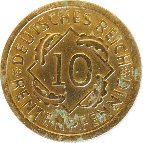 Vorderseite :Deutschland : 10 Rentenpfennig Kursmünze  1923 ss/vz.