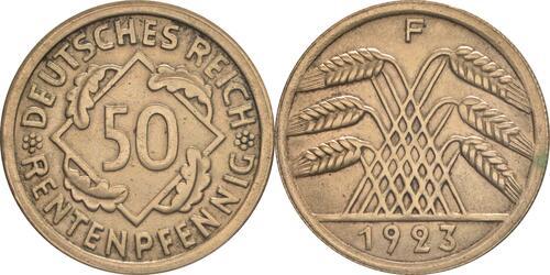 Lieferumfang:Deutschland : 50 Rentenpfennig Kursmünze  1923 vz/Stgl.