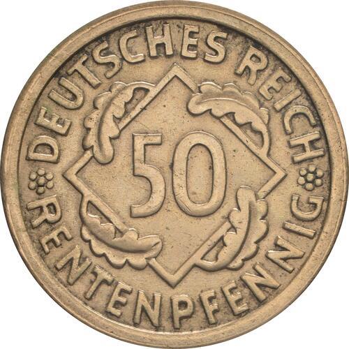 Vorderseite:Deutschland : 50 Rentenpfennig Kursmünze  1923 vz/Stgl.