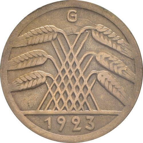 Rückseite:Deutschland : 50 Rentenpfennig Kursmünze  1923 vz.