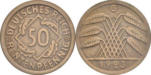 Lieferumfang:Deutschland : 50 Rentenpfennig Kursmünze  1923 vz.