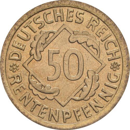 Vorderseite:Deutschland : 50 Rentenpfennig Kursmünze  1924 Stgl.