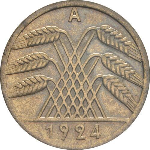 Rückseite :Deutschland : 50 Rentenpfennig Kursmünze  1924 vz/Stgl.