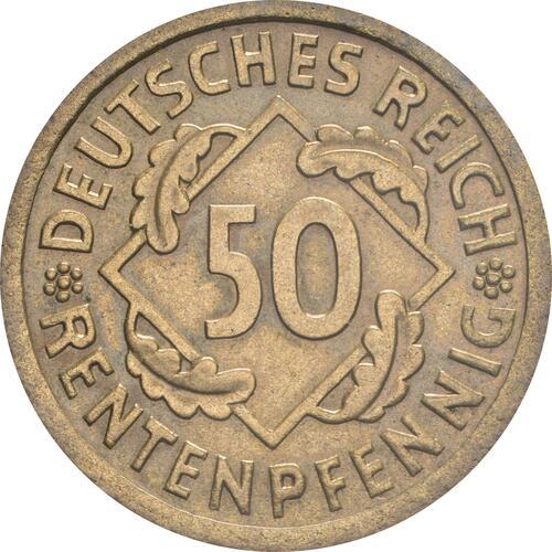 Vorderseite:Deutschland : 50 Rentenpfennig Kursmünze  1924 vz/Stgl.