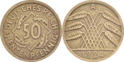 Lieferumfang:Deutschland : 50 Rentenpfennig Kursmünze  1924 ss.