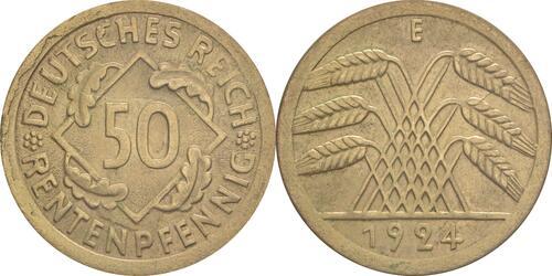 Lieferumfang :Deutschland : 50 Rentenpfennig Kursmünze  1924 vz/Stgl.