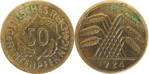 Lieferumfang:Deutschland : 50 Rentenpfennig Kursmünze  1924 ss/vz.