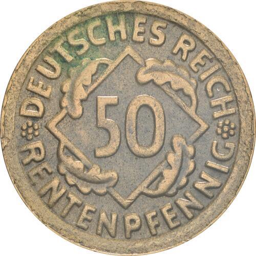 Vorderseite:Deutschland : 50 Rentenpfennig Kursmünze  1924 ss/vz.