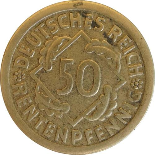 Vorderseite:Deutschland : 50 Rentenpfennig Kursmünze  1924 ss.