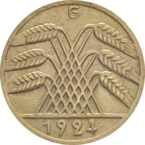 Rückseite:Deutschland : 50 Rentenpfennig Kursmünze  1924 vz.