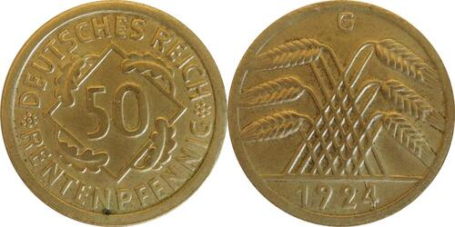 Lieferumfang :Deutschland : 50 Rentenpfennig Kursmünze  1924 vz.