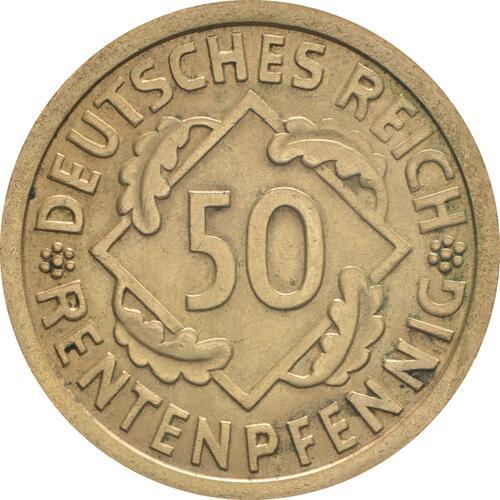 Vorderseite :Deutschland : 50 Rentenpfennig Kursmünze  1924 vz.