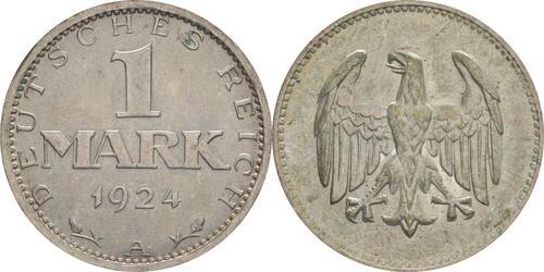 Lieferumfang:Deutschland : 1 Mark Kursmünze  1924 vz/Stgl.
