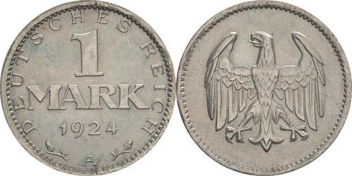 Lieferumfang :Deutschland : 1 Mark Kursmünze  1924 vz.