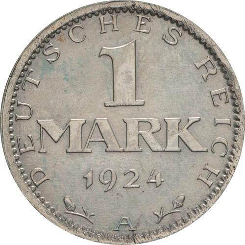 Vorderseite :Deutschland : 1 Mark Kursmünze  1924 vz.