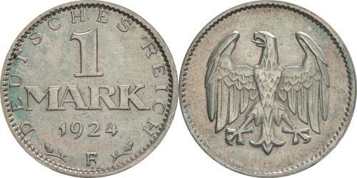 Lieferumfang:Deutschland : 1 Mark Kursmünze  1924 vz.