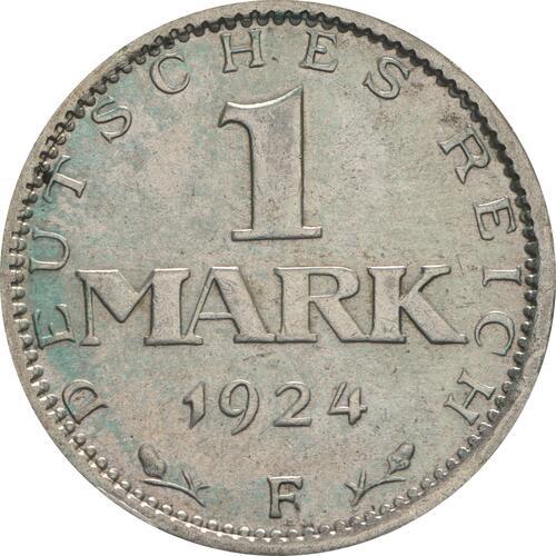 Vorderseite:Deutschland : 1 Mark Kursmünze  1924 vz.