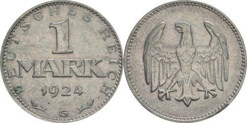 Lieferumfang:Deutschland : 1 Mark Kursmünze  1924 ss.