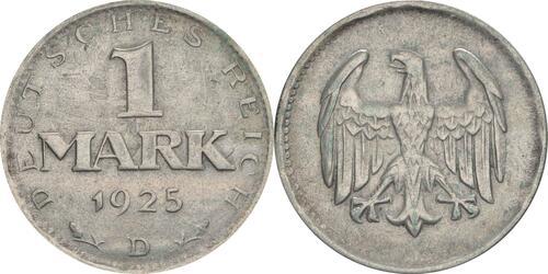 Lieferumfang:Deutschland : 1 Mark Kursmünze  1925 ss.