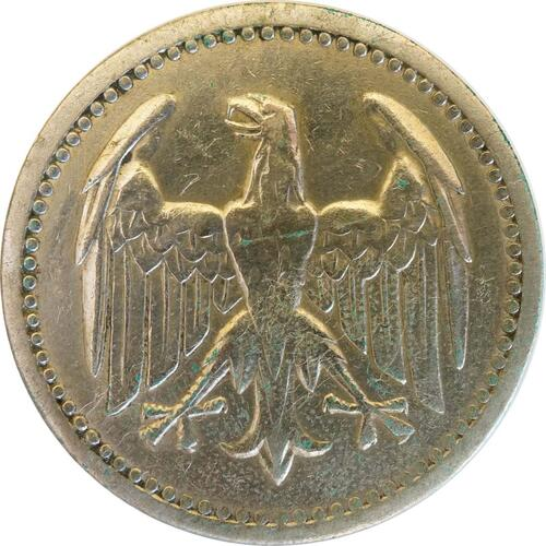 Rückseite:Deutschland : 3 Mark Kursmünze  1924 ss.