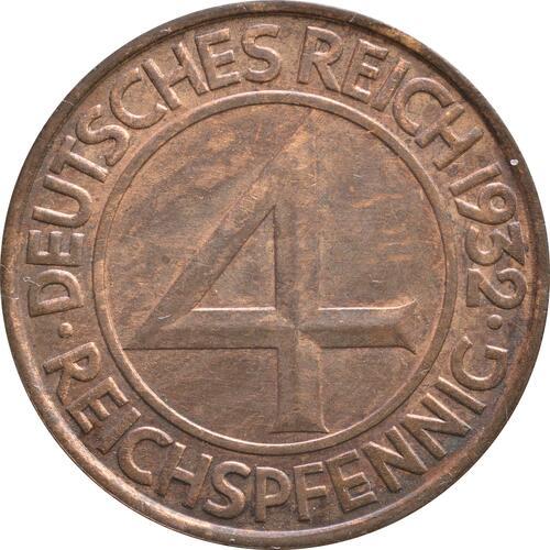 Vorderseite:Deutschland : 4 Reichspfennig Kursmünze  1932 ss.