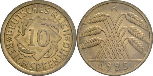 Lieferumfang:Deutschland : 10 Reichspfennig Kursmünze  1925 Stgl.