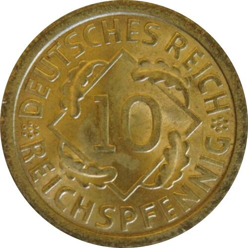 Vorderseite:Deutschland : 10 Reichspfennig Kursmünze  1925 Stgl.