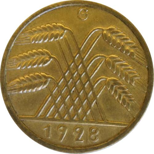 Rückseite:Deutschland : 10 Reichspfennig Kursmünze  1928 vz.