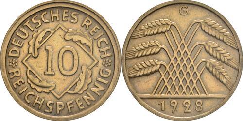 Lieferumfang:Deutschland : 10 Reichspfennig Kursmünze  1928 vz.
