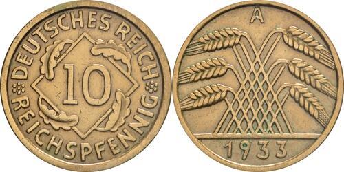 Lieferumfang:Deutschland : 10 Reichspfennif Kursmünze  1933 vz.