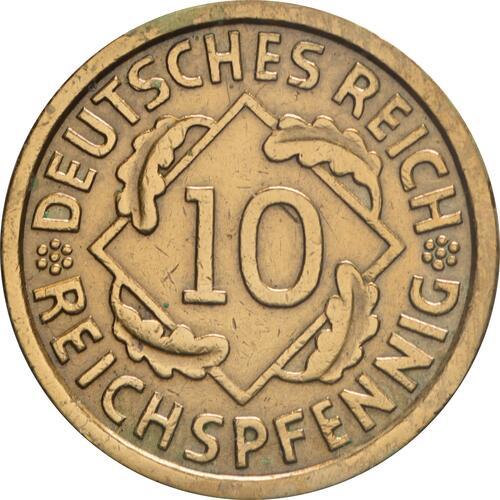Vorderseite:Deutschland : 10 Reichspfennif Kursmünze  1933 vz.