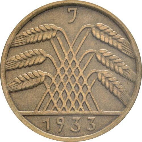 Rückseite :Deutschland : 10 Reichspfennig Kursmünze  1933 vz.
