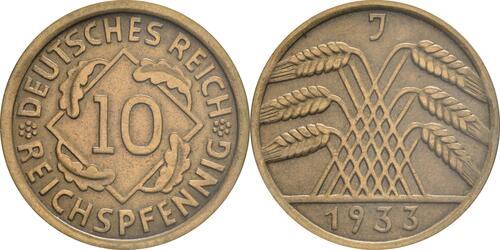 Lieferumfang :Deutschland : 10 Reichspfennig Kursmünze  1933 vz.