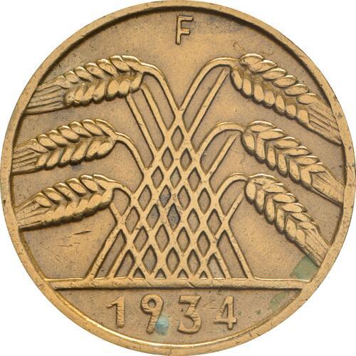 Rückseite:Deutschland : 10 Reichspfennig Kursmünze zaponiert 1934 ss.