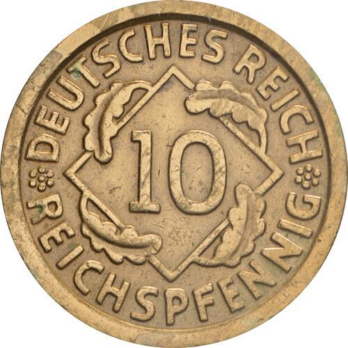 Vorderseite:Deutschland : 10 Reichspfennig Kursmünze zaponiert 1934 ss.