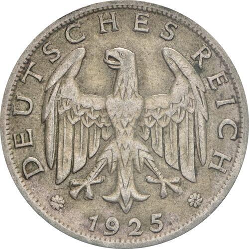 Rückseite :Deutschland : 1 Reichsmark Kursmünzen  1925 ss.