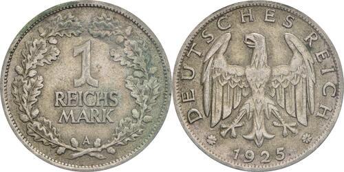 Lieferumfang :Deutschland : 1 Reichsmark Kursmünzen  1925 ss.