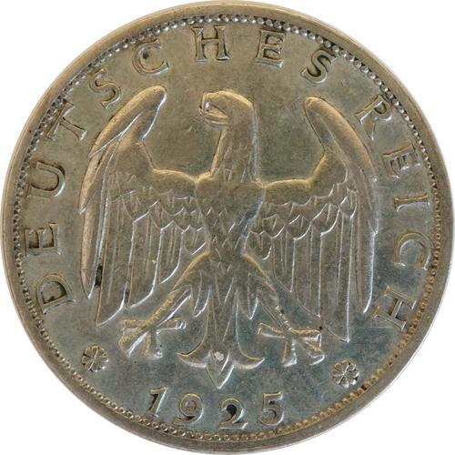 Rückseite:Deutschland : 1 Reichsmark Kursmünze  1925 ss/vz.