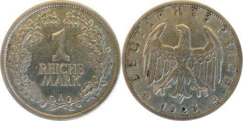 Lieferumfang:Deutschland : 1 Reichsmark Kursmünze  1925 ss/vz.