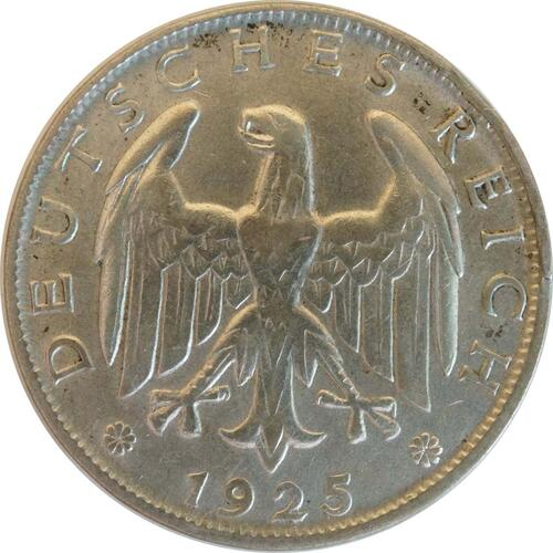 Rückseite:Deutschland : 1 Reichsmark Kursmünze  1925 vz.