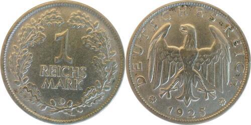 Lieferumfang :Deutschland : 1 Reichsmark Kursmünze  1925 vz.