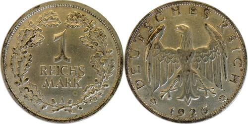 Lieferumfang :Deutschland : 1 Reichsmark Kursmünze  1926 ss.