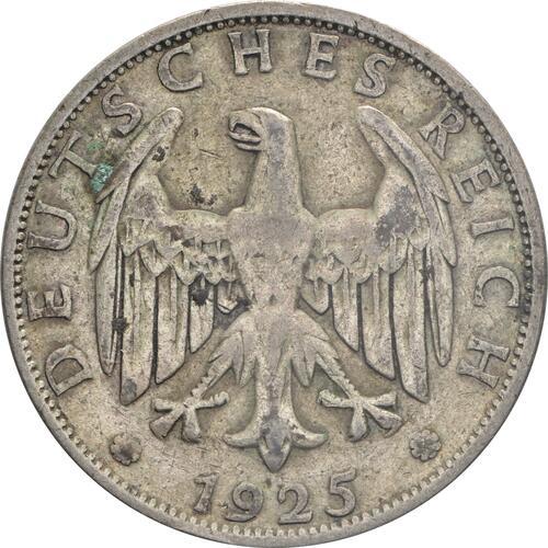 Rückseite :Deutschland : 2 Reichsmark Kursmünze  1925 ss.