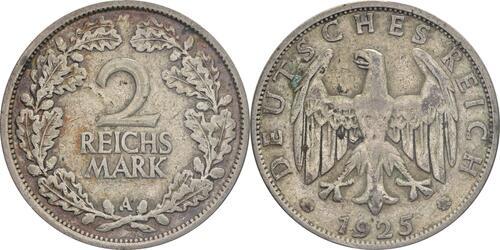Lieferumfang :Deutschland : 2 Reichsmark Kursmünze  1925 ss.