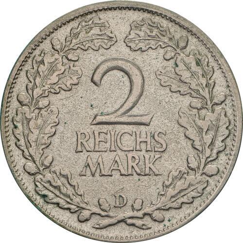 Vorderseite:Deutschland : 2 Reichsmark Kursmünze  1925 ss/vz.