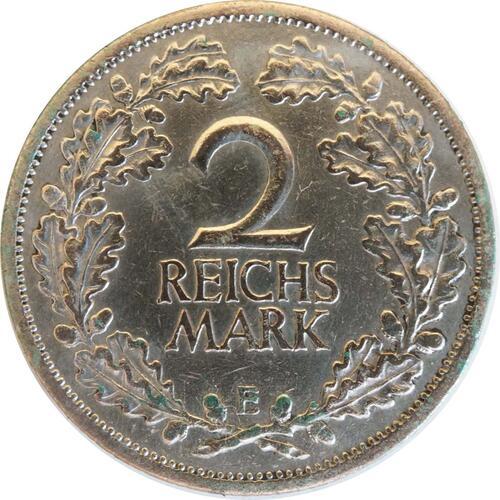 Vorderseite:Deutschland : 2 Reichsmark Kursmünze  1925 ss.
