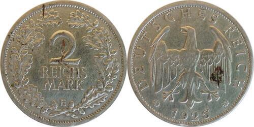 Lieferumfang:Deutschland : 2 Reichsmark Kursmünze - Riß  1925 ss.