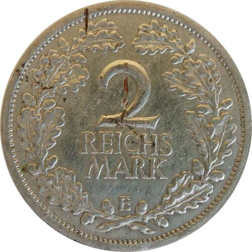Vorderseite:Deutschland : 2 Reichsmark Kursmünze - Riß  1925 ss.